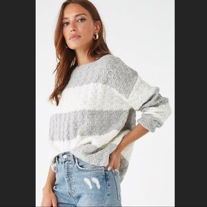 NWT Forever 21 Chinky Striped Grey Sweater Size S